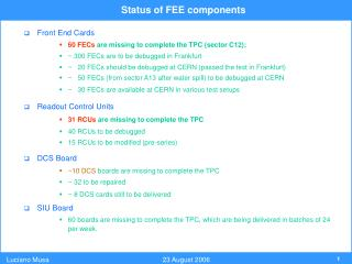 Status of FEE components
