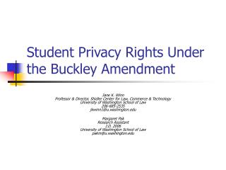 Student Privacy Rights Under the Buckley Amendment