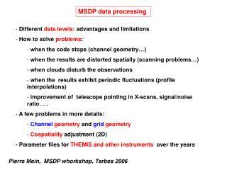 MSDP data processing