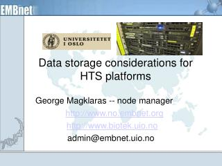 Data storage considerations for HTS platforms
