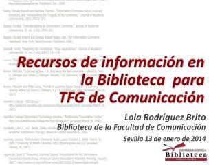 Recursos de información en  la Biblioteca  para  TFG de Comunicación