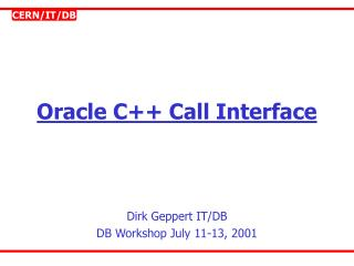 Oracle C Call Interface