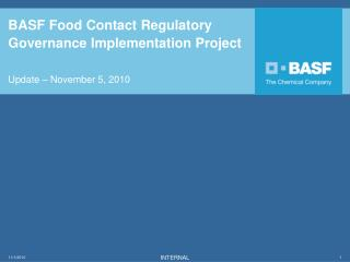 BASF Food Contact Regulatory Governance Implementation Project