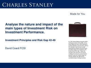 Analyse the nature and impact of the main types of Investment Risk on  Investment Performance.