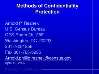 Methods of Confidentiality Protection