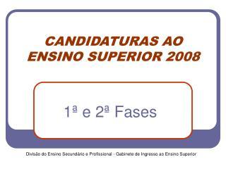 CANDIDATURAS AO ENSINO SUPERIOR 2008