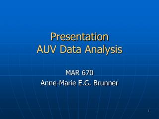Presentation AUV Data Analysis