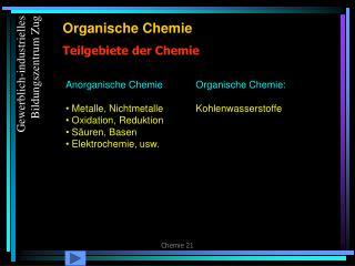 Teilgebiete der Chemie
