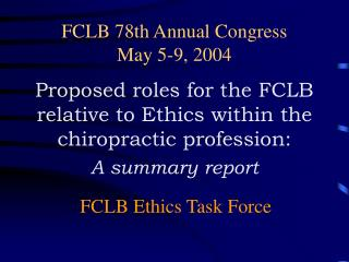 FCLB 78th Annual Congress May 5-9, 2004