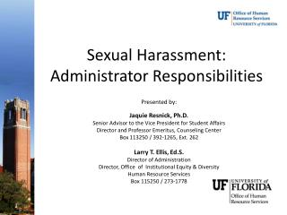Sexual Harassment:  Administrator Responsibilities