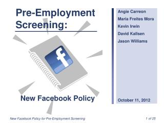 Pre-Employment Screening: