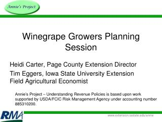 Winegrape Growers Planning Session