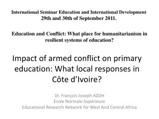 Impact of armed conflict on primary education: What local responses in Côte d'Ivoire?