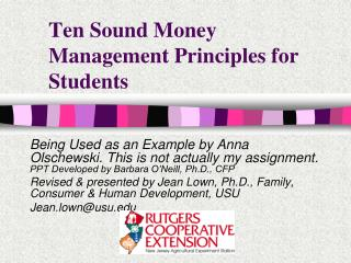 Ten Sound Money Management Principles for Students