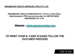 PARAMOUNT HEALTH SERVICES (TPA) PVT. LTD