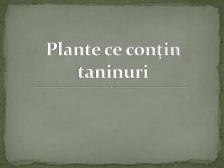 Plante ce conţin taninuri