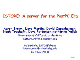 ISTORE: A server for the PostPC Era