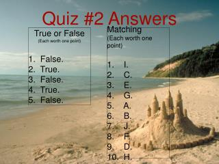 Quiz #2 Answers