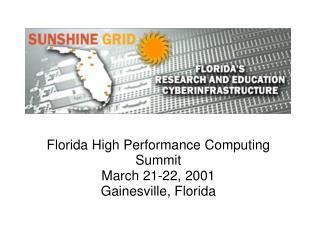 Florida High Performance Computing Summit March 21-22, 2001 Gainesville, Florida