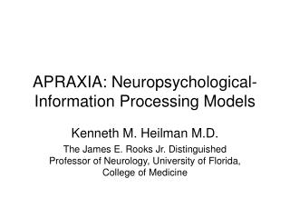 APRAXIA: Neuropsychological-Information Processing Models