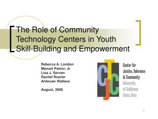 The Role of Community Technology Centers in Youth Skill-Building and Empowerment