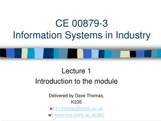 CE 00879-3 Information Systems in Industry