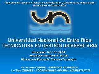 Universidad Nacional de Entre Ríos TECNICATURA EN GESTIÓN UNIVERSITARIA