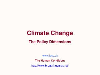 Climate Change The Policy Dimensions