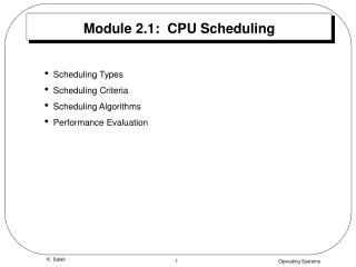 Module 2.1:  CPU Scheduling
