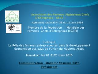 Agr � ment national N� 38 du 12 Juin 1993