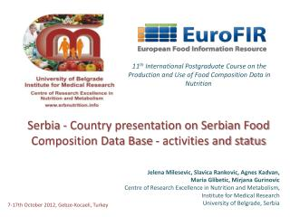 Serbia - Country presentation on Serbian Food Composition Data Base - activities and status