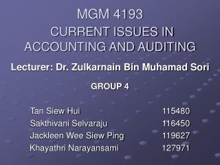 MGM 4193 CURRENT ISSUES IN ACCOUNTING AND AUDITING