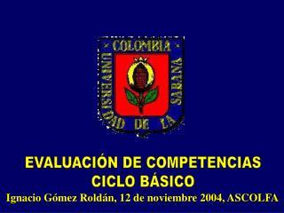EVALUACIÓN DE COMPETENCIAS CICLO BÁSICO