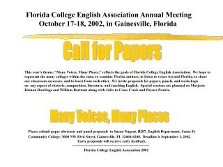 Florida College English Association Fall Conference October 17-18, 2002,  Gainesville, Florida