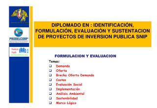 Temas: Demanda Oferta Brecha Oferta Demanda Costos Evaluación Social Implementación