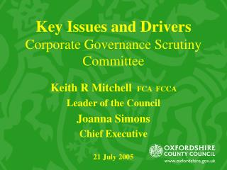Key Issues and Drivers Corporate Governance Scrutiny Committee