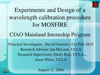 Experiments and Design of a wavelength calibration procedure for MOSFIRE