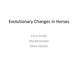 Evolutionary Changes in Horses