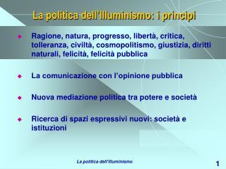 La politica dell Illuminismo: i princ pi