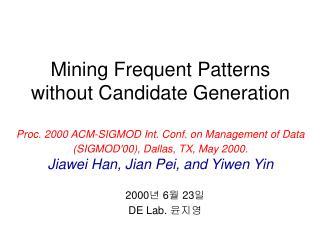 2000 년  6 월  23 일 DE Lab.  윤지영