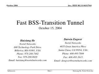 Fast BSS-Transition Tunnel October 15, 2004