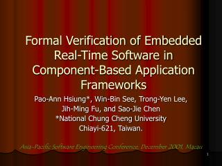 Formal Verification of Embedded Real-Time Software in Component-Based Application Frameworks