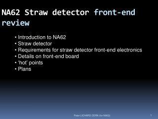 NA62 Straw detector  front-end review
