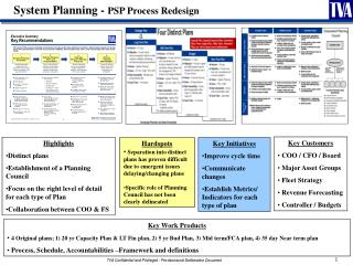 System Planning -  PSP Process Redesign