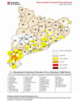 Mapa de predicció del perill d'incendi forestal Data: 06-07-2012