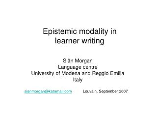 Epistemic modality in  learner writing