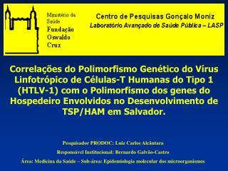 Pesquisador PRODOC: Luiz Carlos Alcântara Responsável Institucional: Bernardo Galvão-Castro