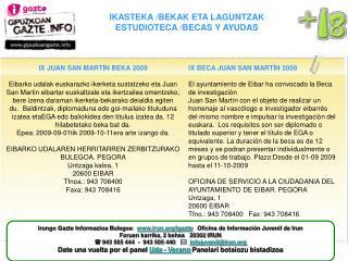 IKASTEKA /BEKAK ETA LAGUNTZAK ESTUDIOTECA /BECAS Y AYUDAS