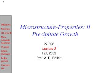 Microstructure-Properties: II Precipitate Growth