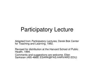 Participatory Lecture